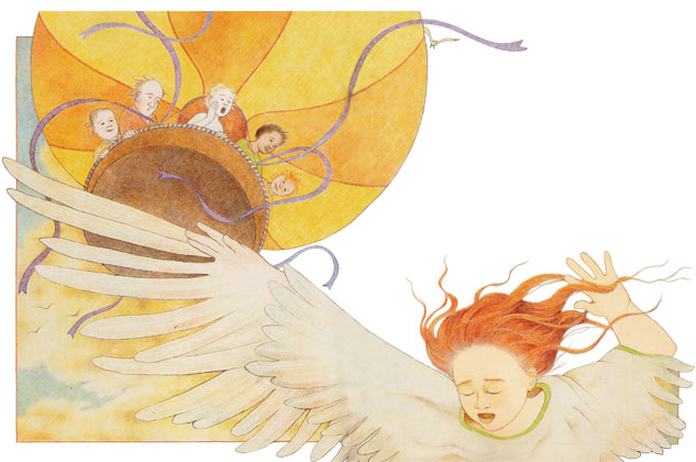 girl flies from a balloon - illustration from Winning the Girl of the Sea
