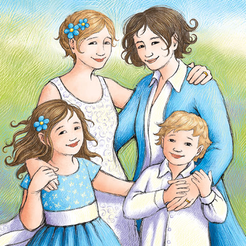 family portrait - illustration from Mom Marries Mum